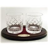 Crystal Whisky Glasses Gift Set with Tray, Personalised, ref WOT1